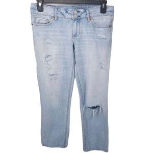 American Eagle Distressed Mid Rise Boyfriend Jeans